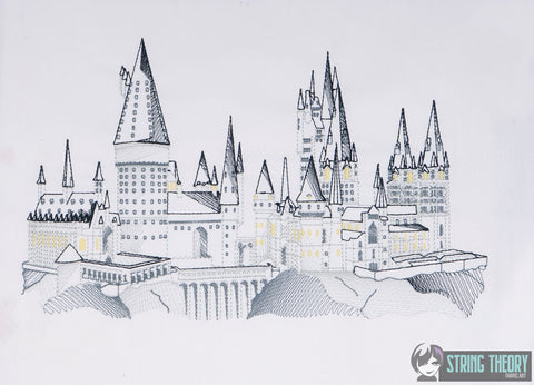 Spell Academy Sketched Castle 7x12 Machine Embroidery Design