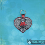 Anti- Valentine's Day SET Fobs ITH 4x4 embroidery pattern