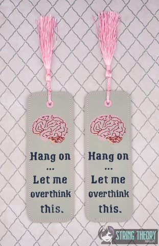 Hang on ... let me overthink this traditional book mark 2ITH 5x7 machine embroidery design