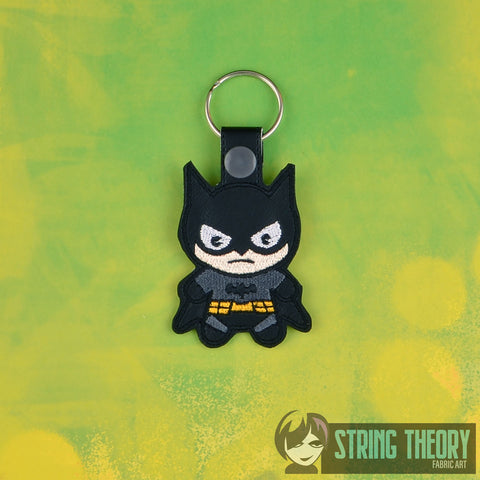 Chibi Bat Guy snap tab key fob ITH 4x4 machine embroidery design