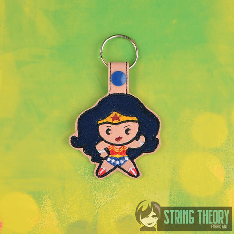 Chibi Fabulous Lady Hero snap tab key fob ITH 4x4 machine embroidery design