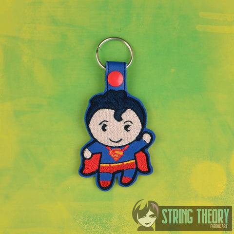 Chibi Awesome Guy Hero snap tab key fob ITH 4x4 machine embroidery design