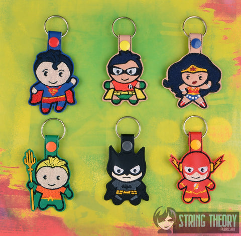 Chibi Justice League snap tab key fob ITH SET 4x4 machine embroidery design