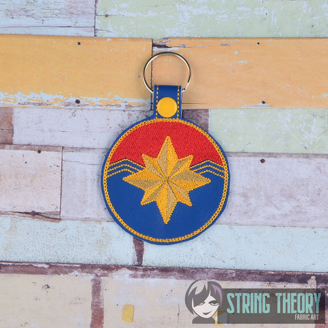 Captain Marvel  snap tab key fob ITH 4x4 machine embroidery design