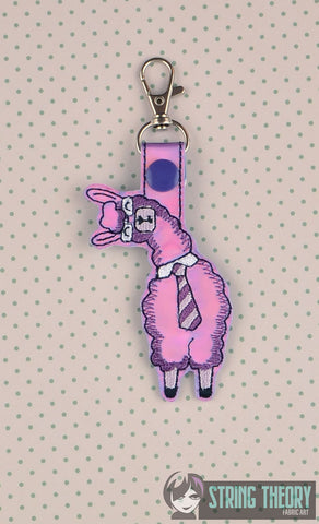 Career Exhaustion Llama snap tab key fob ITH 4x4 machine embroidery design