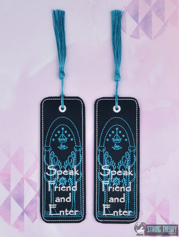 King of the Jewelry Doors of Durin Speak Friend and Enter traditional bookmark 2ITH 5x7 machine embroidery design