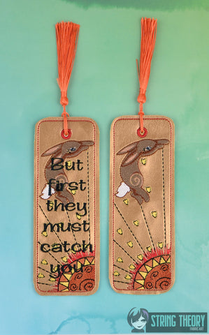 "Bunny Book El Ahrairah ""But first they must catch you"" 2ITH traditional bookmark 5x7 machine embroidery design"