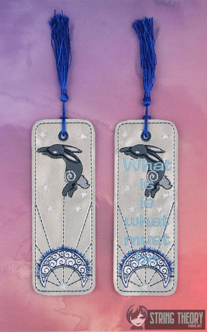 "Bunny Book Black rabbit of Inle ""What is is what must be"" 2ITH traditional bookmark 5x7 machine embroidery design"