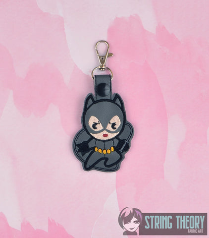Chibi Catwoman snap tab key fob ITH 4x4 machine embroidery design