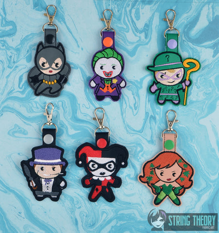 Chibi Villains snap tab key fob SET ITH 4x4 machine embroidery design