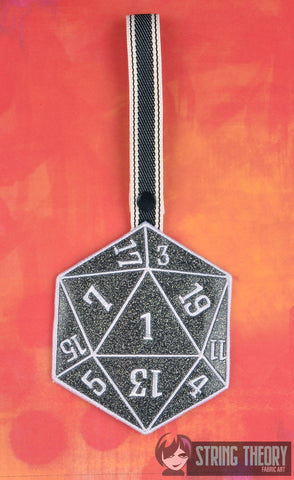 D20 Critical Failure towel topper ITH machine embroidery design 5x7