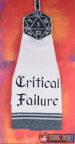 SET Critical Failure AND D20 Crit Failure towel topper ITH machine embroidery design 5x7