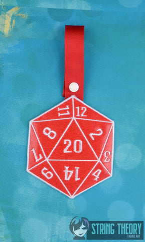 D20 Critical Success towel topper ITH machine embroidery design 5x7