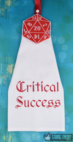 SET Critical Success AND D20 Crit Success towel topper ITH machine embroidery design 5x7