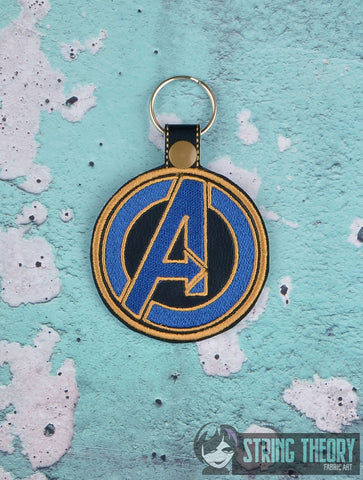 Marvel Avengers Logo snap tab key fob 4x4 machine embroidery design