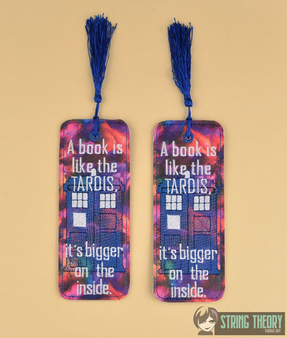A book is like a TARDIS, it's bigger on the inside TRADITIONAL STYLE BOOKMARK 2ITH MACHINE EMBROIDERY DESIGN