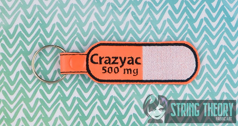 500mg Crazyac snap tab key fob ITH 4x4 machine embroidery design