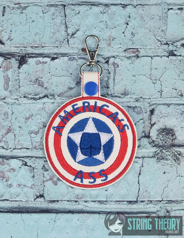 America's Ass snap tab key fob ITH 4x4 machine embroidery design