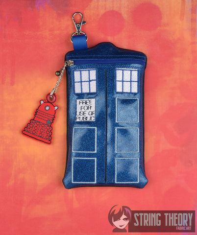 Doctor Who TARDIS Shaped Zip Bag WITH Dalek Dangle 5x7 ITH machine embroidery design