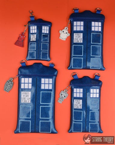 Doctor Who TARDIS Shaped Zip Bag WITH Dalek Dangle SET- Four Sizes ITH machine embroidery design