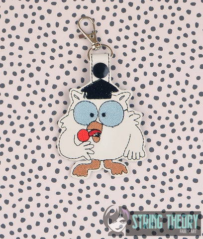 Tootsie Pop Owl snap tab key fob ITH 4x4 machine embroidery design