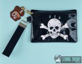 Jolly Roger zip bag AND treasure chest dangle ITH 5x7 machine embroidery design
