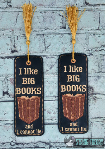I Like Big Books and I cannot lie 2ITH 5X7 TRADITIONAL BOOKMARK MACHINE EMBROIDERY DESIGN