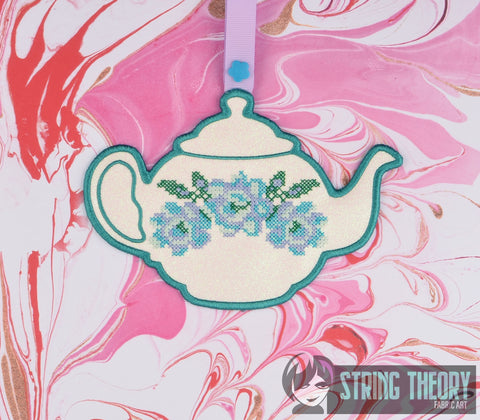 Towel Topper Teapot ITH 5x7 machine embroidery design