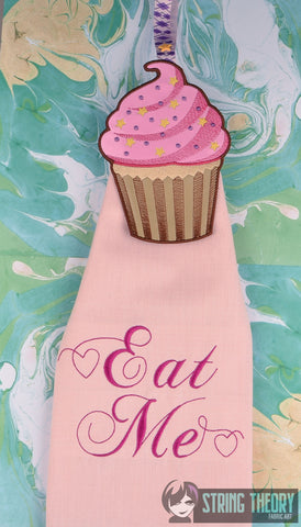 Cupcake AND Eat Me Towel Topper Set ITH 5x7 machine embroidery design