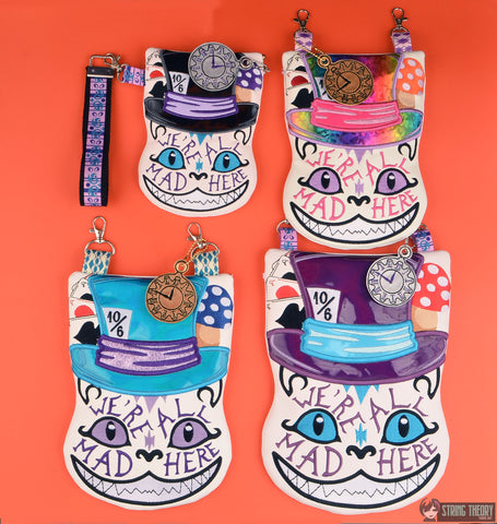 Cheshire Cat ZIP BAG SET W/ Clock Dangle - FOUR SIZES ITH MACHINE EMBROIDERY DESIGN