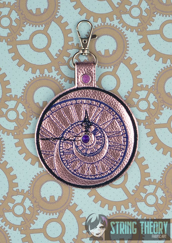 Crazy Clock Spiral snap tab key fob ITH 4x4 machine embroidery design