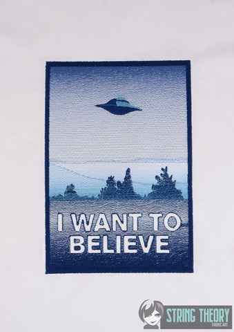 Alien Investigation I want to believe 6x10 machine embroidery design