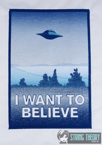 Alien Investigation I want to believe 8x12 machine embroidery design