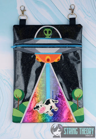 UFO Abduction zip bag with cow dangle 8x12 ITH machine embroidery design