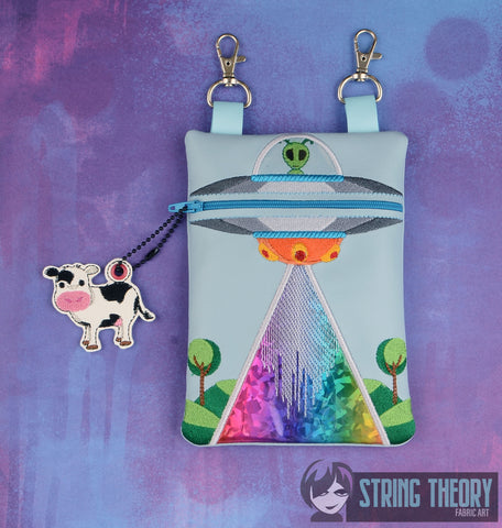 UFO Abduction zip bag with cow dangle 5x7 ITH machine embroidery design