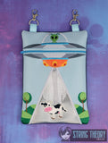 UFO Abduction zip bag with cow dangle 6x10 ITH machine embroidery design