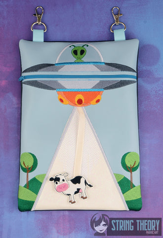 UFO Abduction zip bag with cow dangle 7x11 ITH machine embroidery design