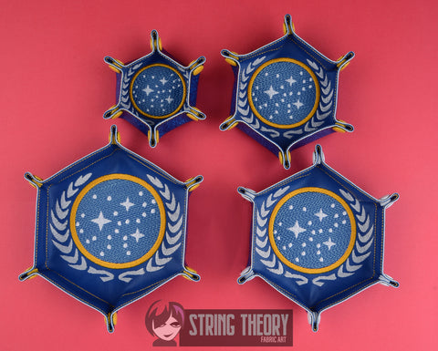 Portable Hexagonal Dice Tray Star Exploration Unity of Planets SET ITH machine embroidery design