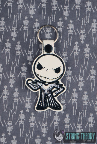 Chibi Skull Head SNAP TAB KEY FOB 4X4 ITH MACHINE EMBROIDERY DESIGN