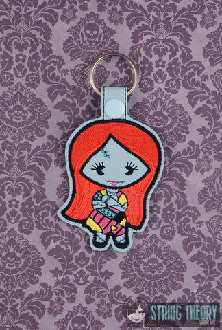 Chibi Patch Girl SNAP TAB KEY FOB 4X4 ITH MACHINE EMBROIDERY DESIGN
