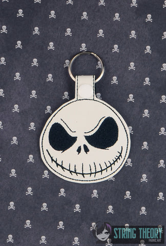 Jack Face SNAP TAB KEY FOB 4X4 ITH MACHINE EMBROIDERY DESIGN