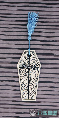 Jack & Sally COFFIN ITH BOOKMARK 4x4 MACHINE EMBROIDERY DESIGN