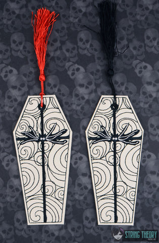 Jack & Sally Coffin 2ITH BOOKMARK 5X7 MACHINE EMBROIDERY DESIGN