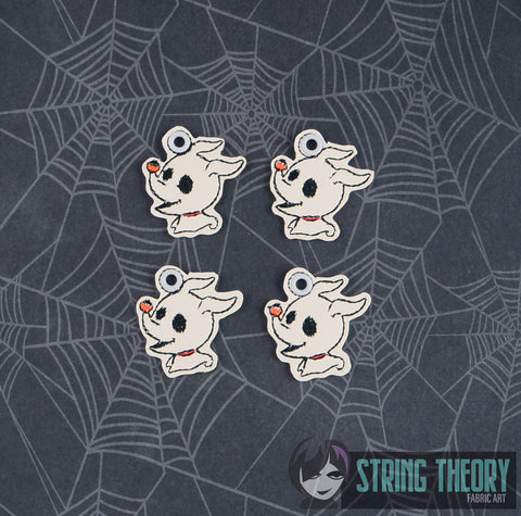 Chibi Ghost Dog DANGLE 1ITH AND 4ITH 4X4 MACHINE EMBROIDERY PATTERN