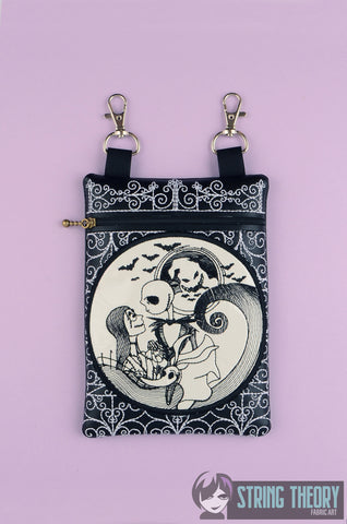 Jack & Sally Cemetery Gate zip bag 5x7 ITH MACHINE EMBROIDERY DESIGN