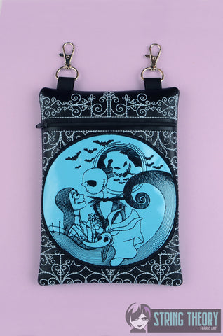 Jack & Sally Cemetery Gate zip bag 6x10 ITH MACHINE EMBROIDERY DESIGN