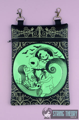 Jack & Sally Cemetery Gate zip bag 7x11 ITH MACHINE EMBROIDERY DESIGN