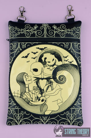 Jack & Sally Cemetery Gate zip bag 8x12 ITH MACHINE EMBROIDERY DESIGN
