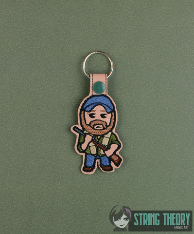 Chibi Bobby snap tab key fob ITH 4x4 machine embroidery design