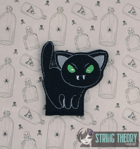 CUTIE Vamp Cat FINGER PUPPET 4X4 ITH MACHINE EMBROIDERY DESIGN